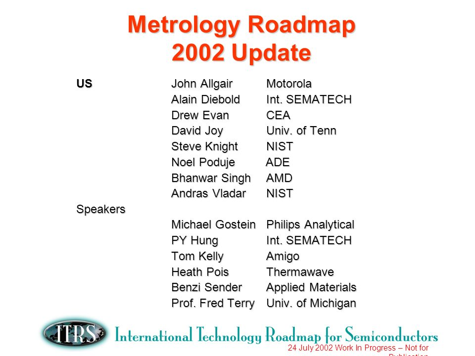 24 July 2002 Work In Progress – Not for Publication AGENDA 2002 ITRS Changes Lithography Metrology FEP Metrology Interconnect Metrology Materials Characterization Grand Challenges