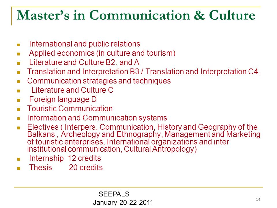 14 Masters in Communication & Culture International and public relations Applied economics (in culture and tourism) Literature and Culture B2.