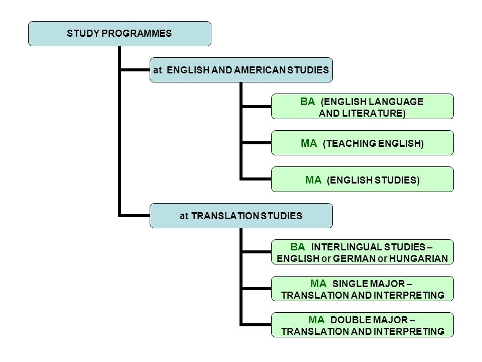 STUDY PROGRAMMES at ENGLISH AND AMERICAN STUDIES BA (ENGLISH LANGUAGE AND LITERATURE) MA (TEACHING ENGLISH) MA (ENGLISH STUDIES) at TRANSLATION STUDIE