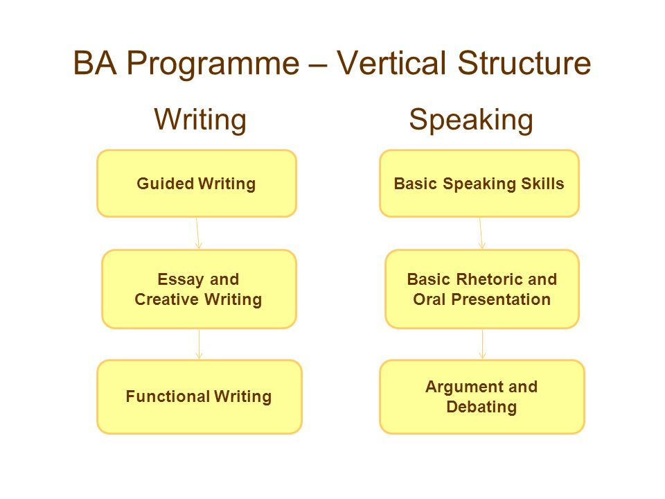 BA Programme – Vertical Structure Guided Writing Essay and Creative Writing Functional Writing Basic Speaking Skills Basic Rhetoric and Oral Presentat