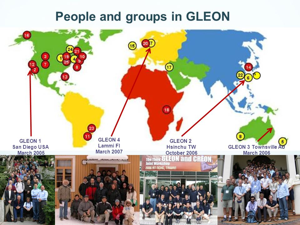 15 GLEON 1 San Diego USA March 2005 GLEON 2 Hsinchu TW October 2006 GLEON 4 Lammi FI March 2007 GLEON 3 Townsville AU March 2006 People and groups in