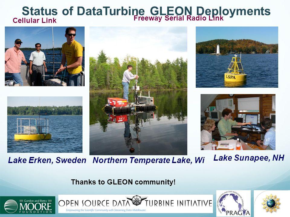 Status of DataTurbine GLEON Deployments Lake Sunapee, NH Lake Erken, SwedenNorthern Temperate Lake, Wi Cellular Link Freeway Serial Radio Link Thanks