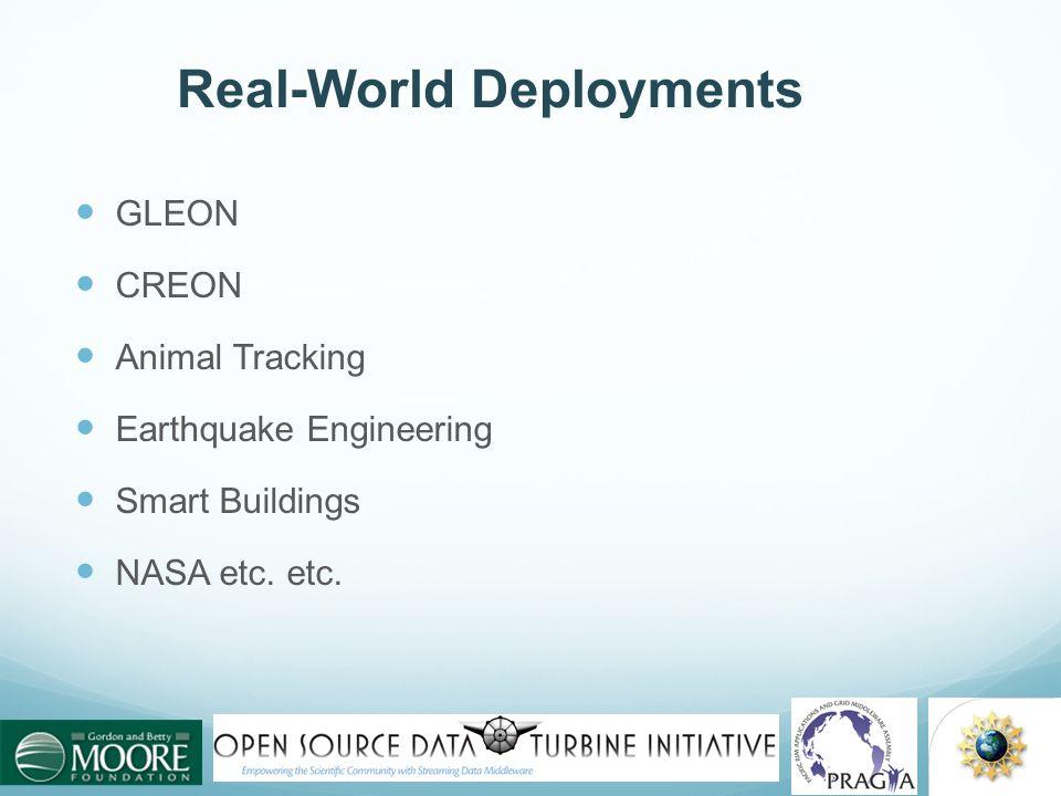 Real-World Deployments GLEON CREON Animal Tracking Earthquake Engineering Smart Buildings NASA etc. etc.