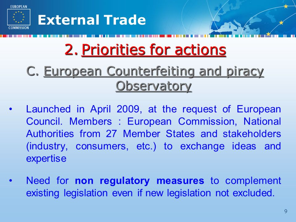External Trade 9 2.Priorities for actions C.European Counterfeiting and piracy Observatory Launched in April 2009, at the request of European Council.
