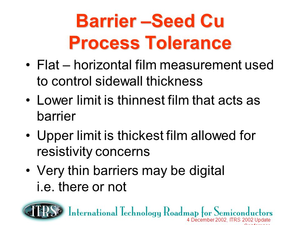 4 December 2002, ITRS 2002 Update Conference Barrier –Seed Cu Process Tolerance Flat – horizontal film measurement used to control sidewall thickness