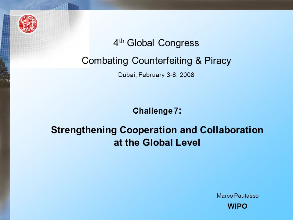 WIPOs Stakeholders 184 Member States 300 Observers (IGOs & NGOs) 156 Countries (Developing and in transition) 49 LDCs Private/public sector (Inventors, creators, users, etc.)