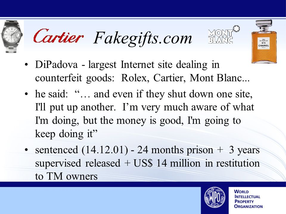Fakegifts.com DiPadova - largest Internet site dealing in counterfeit goods: Rolex, Cartier, Mont Blanc...