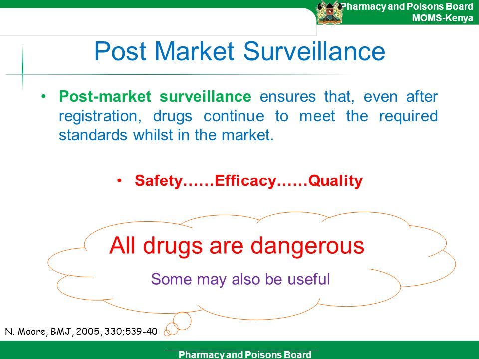 Pharmacy and Poisons Board Pharmacy and Poisons Board MOMS-Kenya Post Market Surveillance Post-market surveillance ensures that, even after registrati