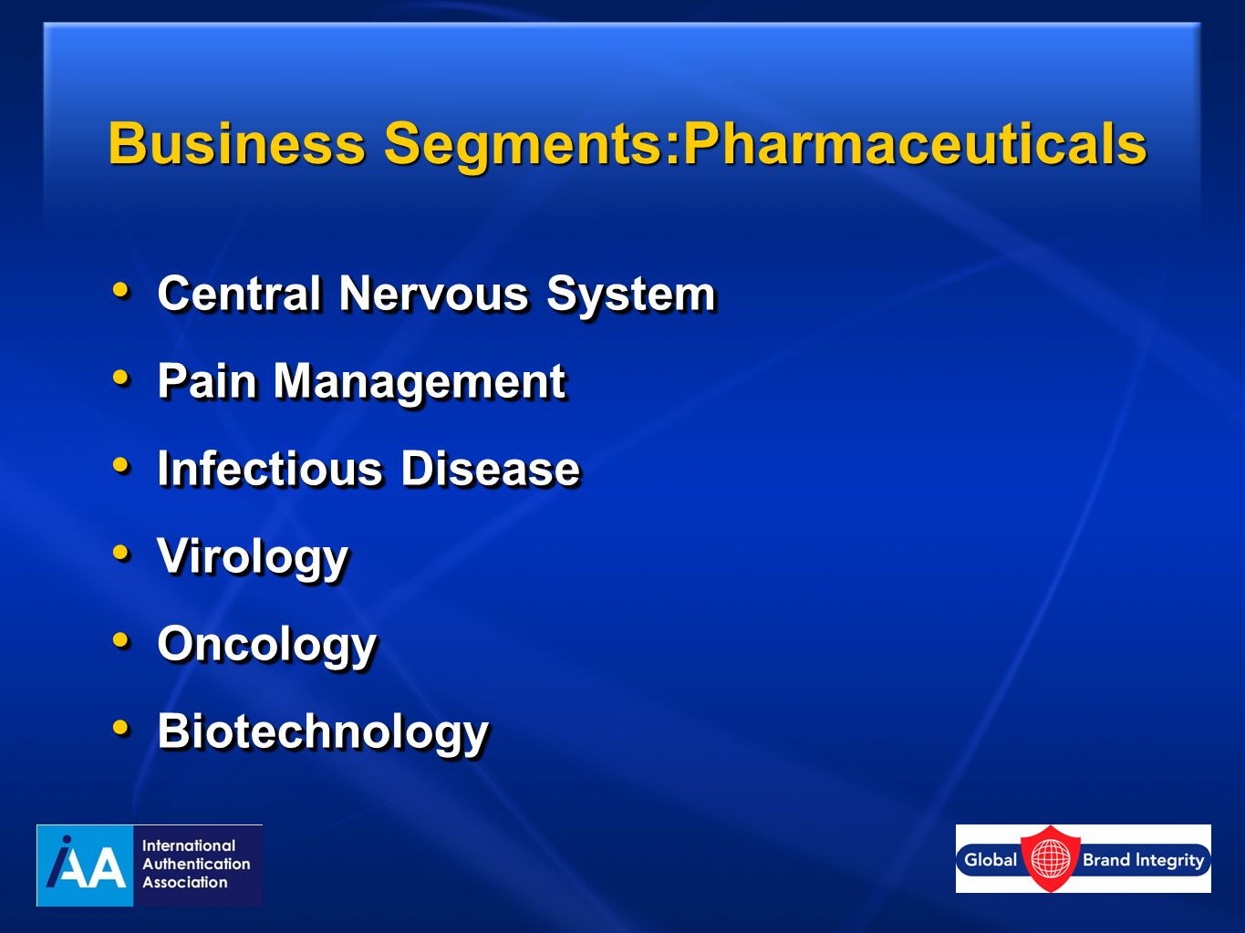 Business Segments:Pharmaceuticals Central Nervous System Central Nervous System Pain Management Pain Management Infectious Disease Infectious Disease
