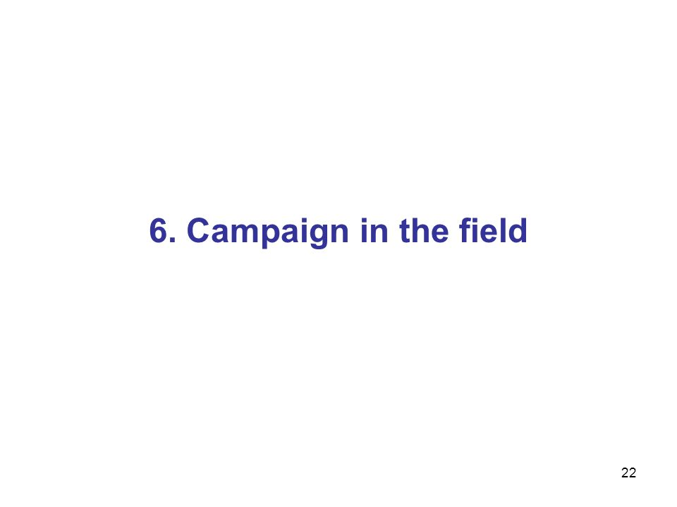 22 6. Campaign in the field