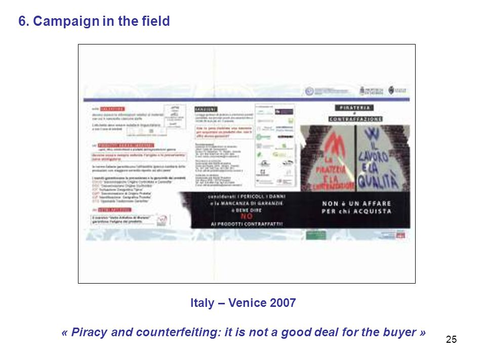 25 Italy – Venice 2007 « Piracy and counterfeiting: it is not a good deal for the buyer » 6.