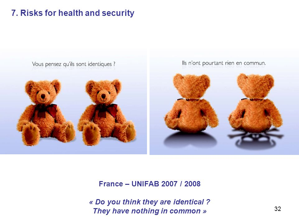 32 7. Risks for health and security France – UNIFAB 2007 / 2008 « Do you think they are identical .