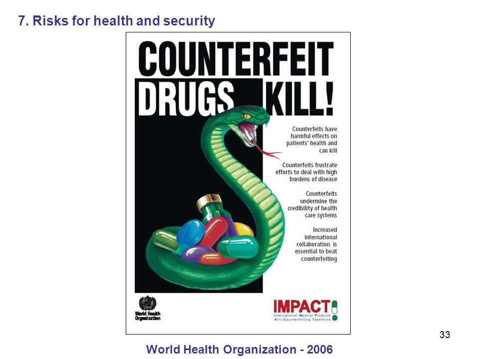 33 7. Risks for health and security World Health Organization - 2006