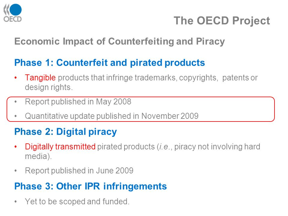 The OECD Project Economic Impact of Counterfeiting and Piracy Phase 1: Counterfeit and pirated products Tangible products that infringe trademarks, copyrights, patents or design rights.