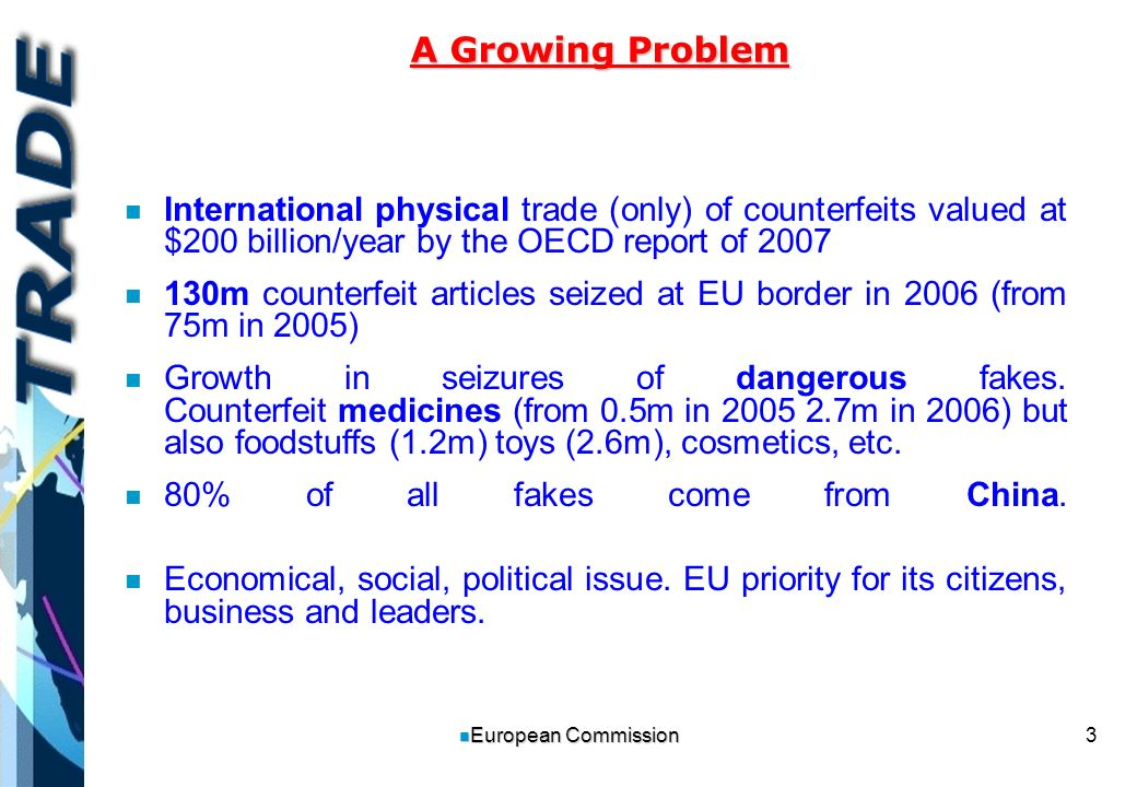 3 n European Commission n n International physical trade (only) of counterfeits valued at $200 billion/year by the OECD report of 2007 n n 130m counterfeit articles seized at EU border in 2006 (from 75m in 2005) n n Growth in seizures of dangerous fakes.