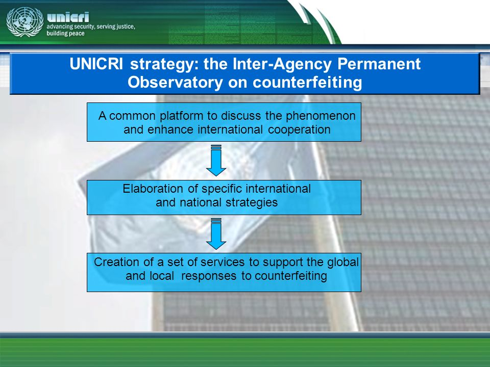UNICRI strategy: the Inter-Agency Permanent Observatory on counterfeiting A common platform to discuss the phenomenon and enhance international cooper