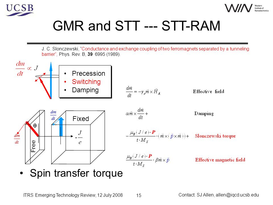 ITRS Emerging Technology Review, 12 July 2008 Contact: SJ Allen, allen@iqcd.ucsb.edu 15 GMR and STT --- STT-RAM Spin transfer torque J. C. Slonczewski