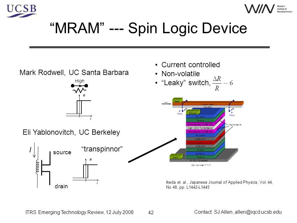 ITRS Emerging Technology Review, 12 July 2008 Contact: SJ Allen, allen@iqcd.ucsb.edu 42 MRAM --- Spin Logic Device Mark Rodwell, UC Santa Barbara Eli