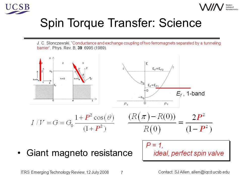 ITRS Emerging Technology Review, 12 July 2008 Contact: SJ Allen, allen@iqcd.ucsb.edu 28 Spin Transfer Torque Nano-oscillator Spin transfer torque J.