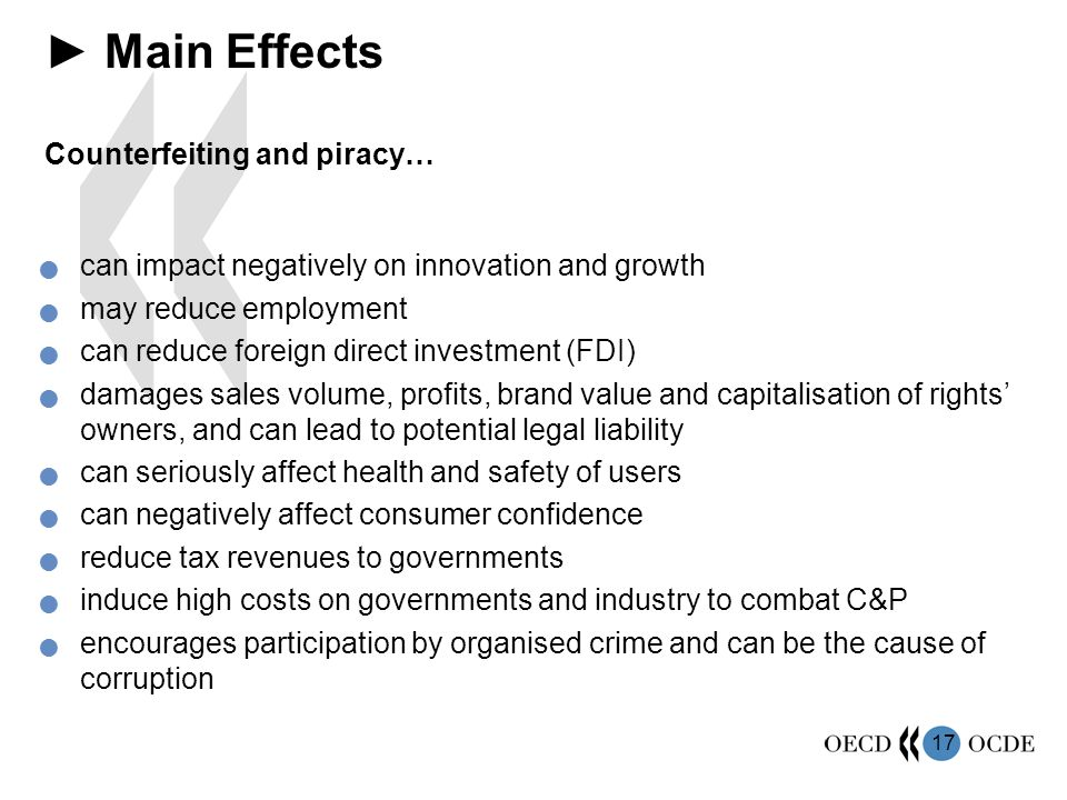 17 Main Effects Counterfeiting and piracy… can impact negatively on innovation and growth may reduce employment can reduce foreign direct investment (