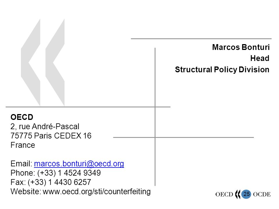 25 Marcos Bonturi Head Structural Policy Division OECD 2, rue André-Pascal 75775 Paris CEDEX 16 France Email: marcos.bonturi@oecd.org Phone: (+33) 1 4