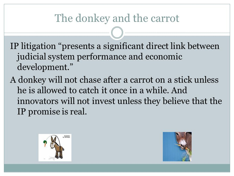 The donkey and the carrot IP litigation presents a significant direct link between judicial system performance and economic development.