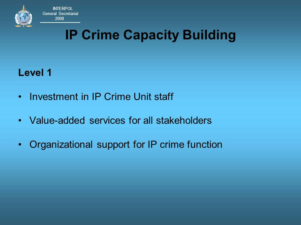 INTERPOL General Secretariat 2008 IP Crime Capacity Building Level 1 Investment in IP Crime Unit staff Value-added services for all stakeholders Organizational support for IP crime function