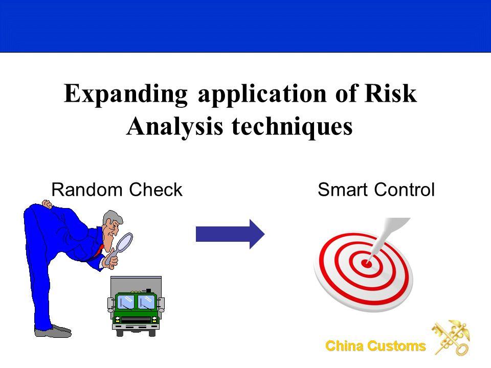 Expanding application of Risk Analysis techniques Random CheckSmart Control