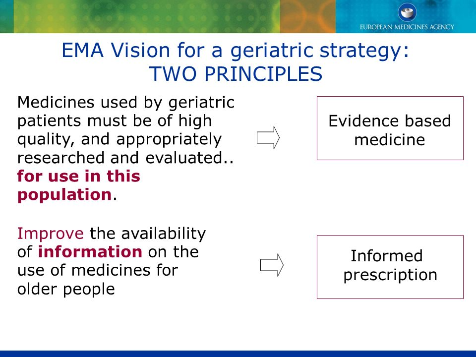Medicines used by geriatric patients must be of high quality, and appropriately researched and evaluated.. for use in this population. EMA Vision for