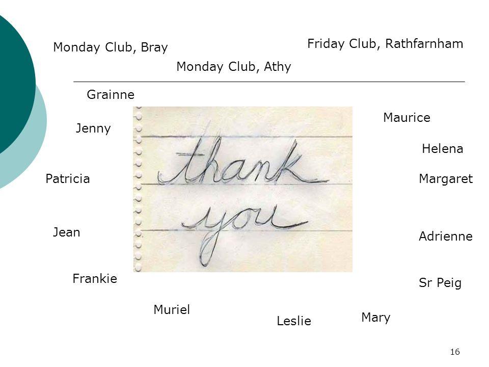 16 Frankie Muriel Adrienne Jean Maurice Margaret Jenny Monday Club, Bray Friday Club, Rathfarnham Monday Club, Athy Mary Patricia Leslie Sr Peig Grainne Helena