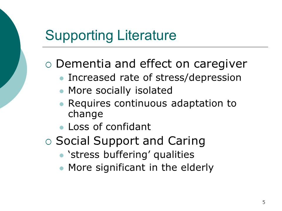 5 Supporting Literature Dementia and effect on caregiver Increased rate of stress/depression More socially isolated Requires continuous adaptation to change Loss of confidant Social Support and Caring stress buffering qualities More significant in the elderly
