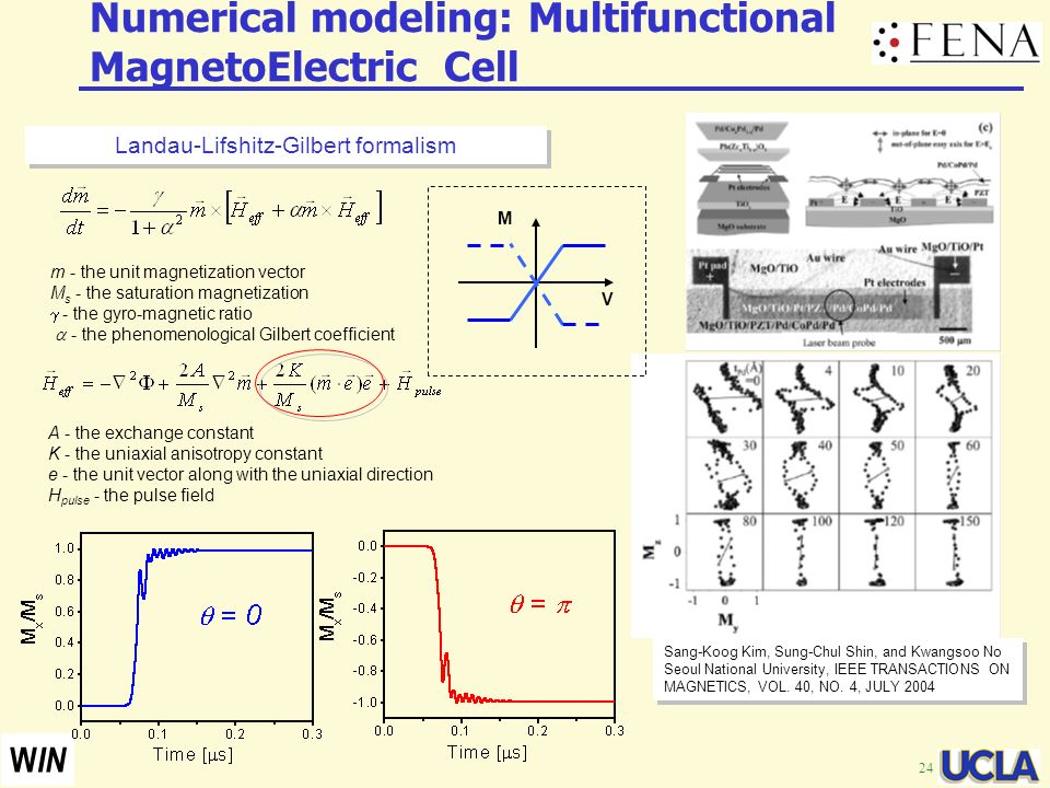 24 W IN Numerical modeling: Multifunctional MagnetoElectric Cell Sang-Koog Kim, Sung-Chul Shin, and Kwangsoo No Seoul National University, IEEE TRANSA
