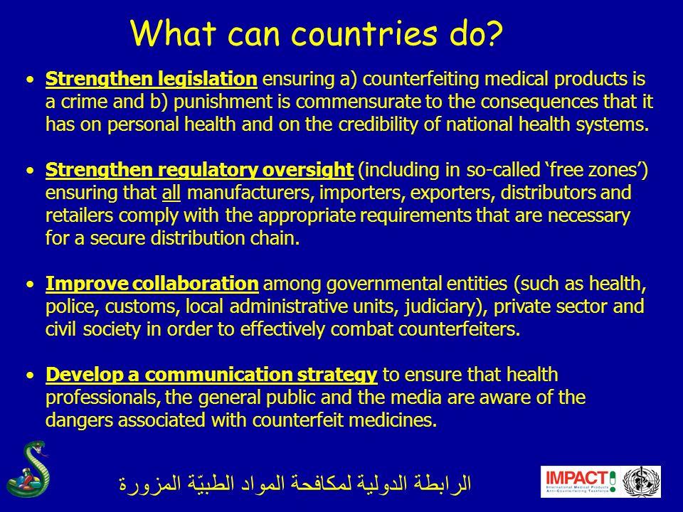 الرابطة الدولية لمكافحة المواد الطبيّة المزورة What can countries do.