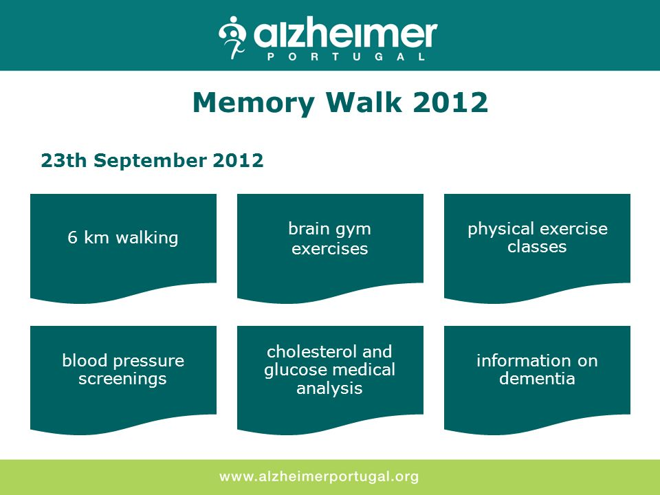 23th September 2012 Memory Walk 2012 6 km walking brain gym exercises physical exercise classes blood pressure screenings cholesterol and glucose medical analysis information on dementia