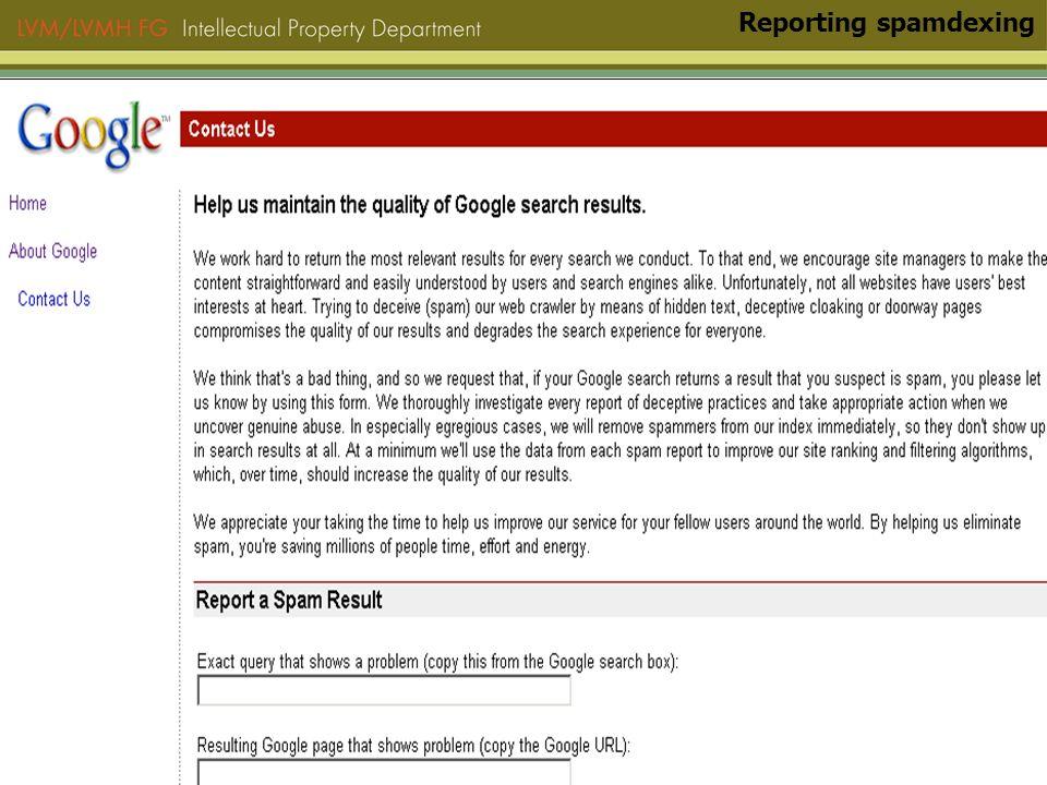 Reporting spamdexing