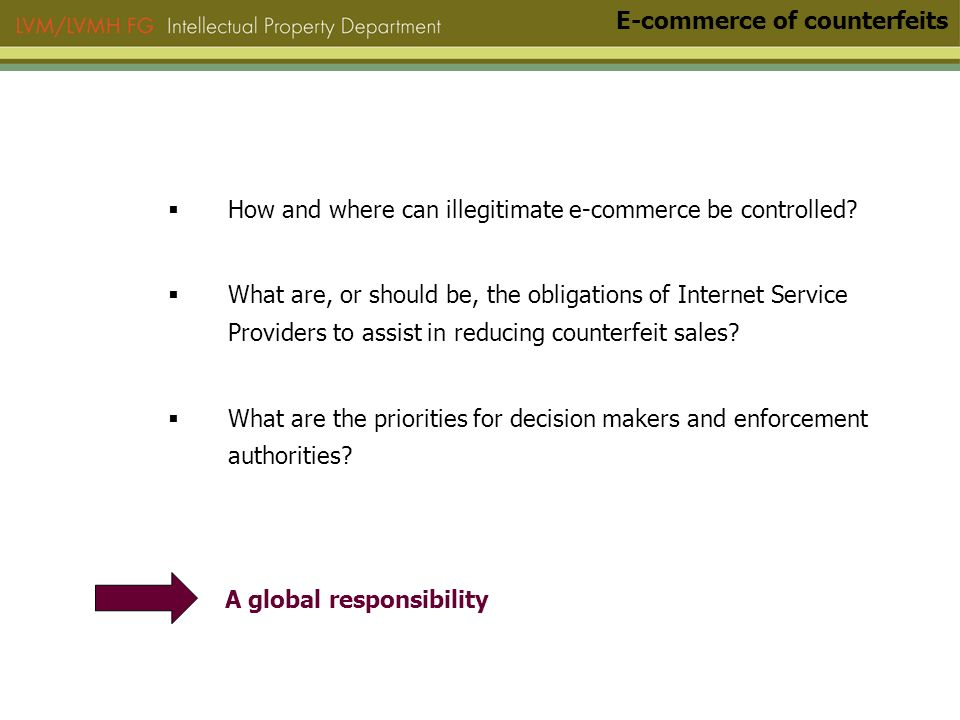 How and where can illegitimate e-commerce be controlled.