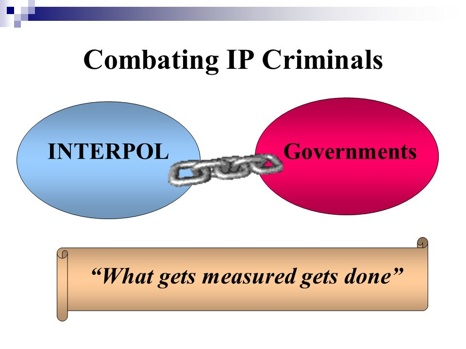 Combating IP Criminals What gets measured gets done GovernmentsINTERPOL