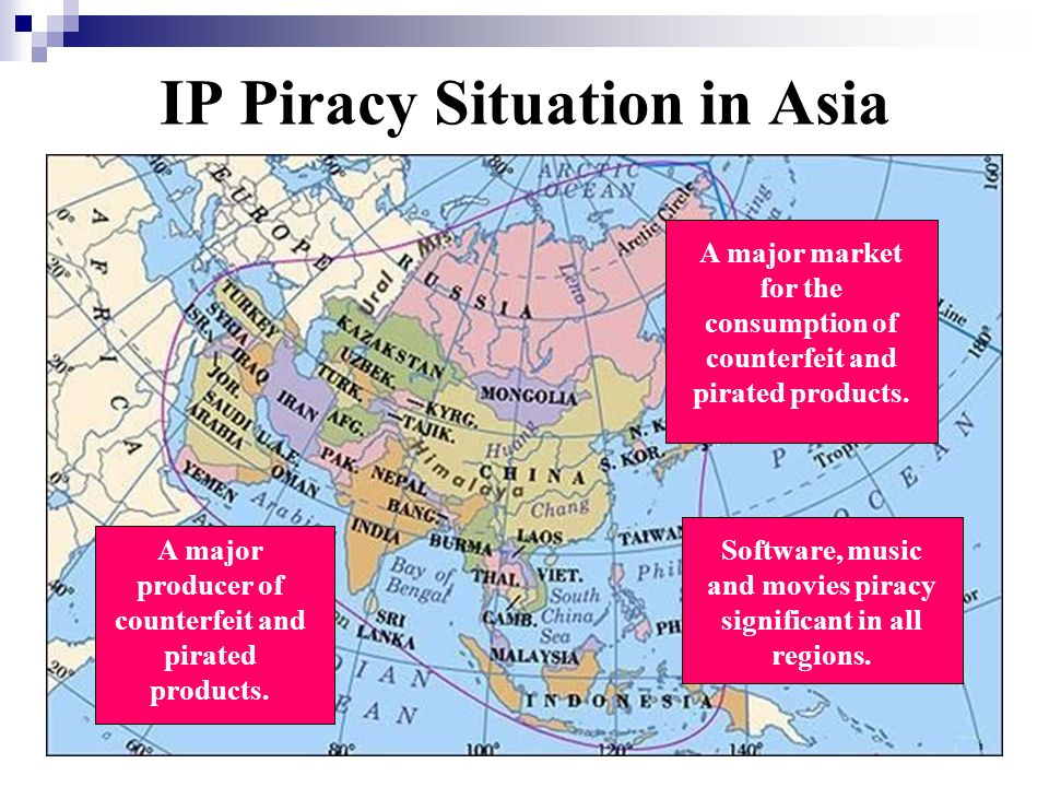 IP Piracy Situation in Asia A major market for the consumption of counterfeit and pirated products. A major producer of counterfeit and pirated produc