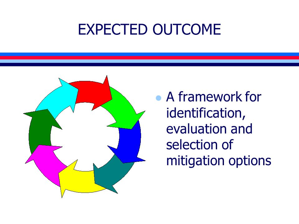 EXPECTED OUTCOME l A framework for identification, evaluation and selection of mitigation options