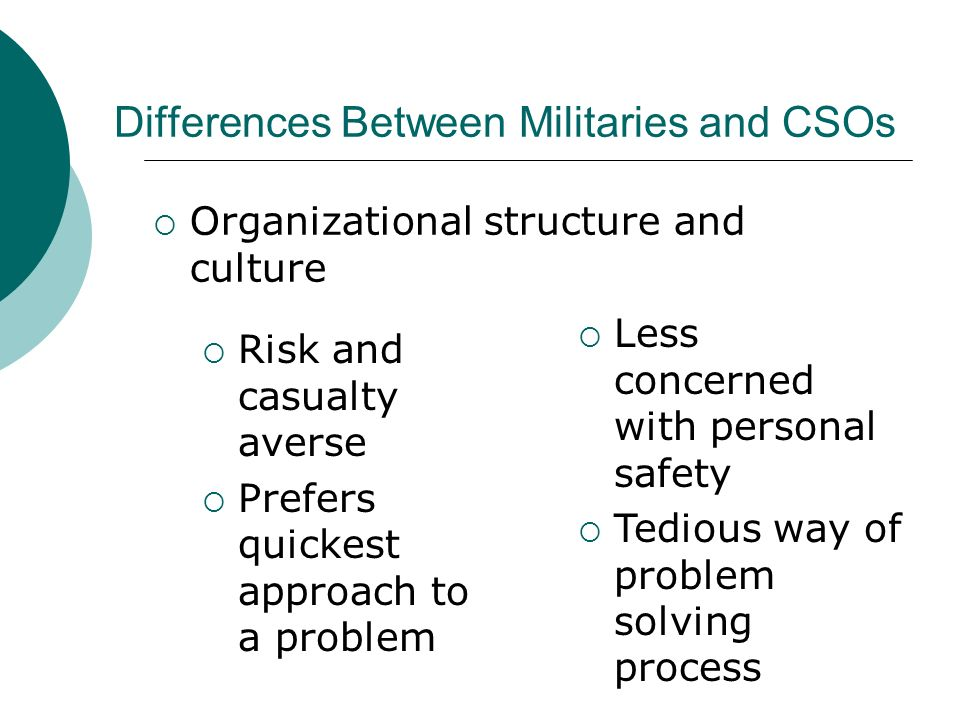 Risk and casualty averse Prefers quickest approach to a problem Less concerned with personal safety Tedious way of problem solving process Organizational structure and culture Differences Between Militaries and CSOs