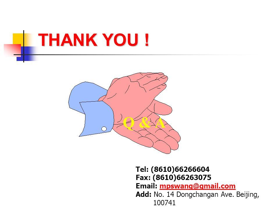 THANK YOU ! Tel: (8610)66266604 Fax: (8610)66263075 Email: mpswang@gmail.commpswang@gmail.com Add: No. 14 Dongchangan Ave. Beijing, 100741 Q & A