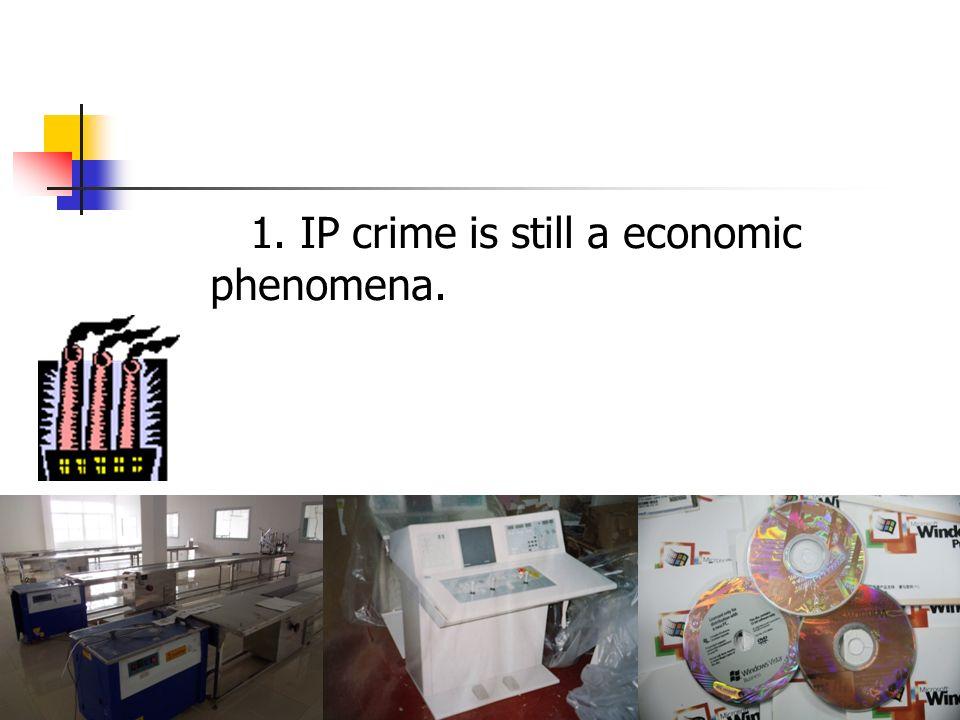 1. IP crime is still a economic phenomena.