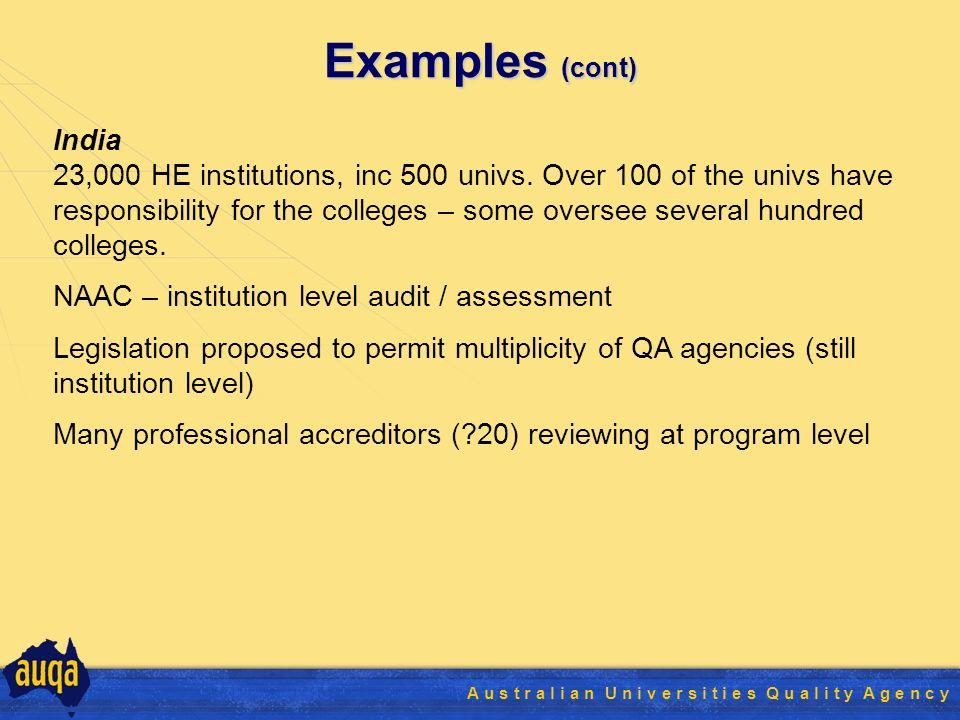 17 A u s t r a l i a n U n i v e r s i t i e s Q u a l i t y A g e n c y Examples (cont) India 23,000 HE institutions, inc 500 univs.