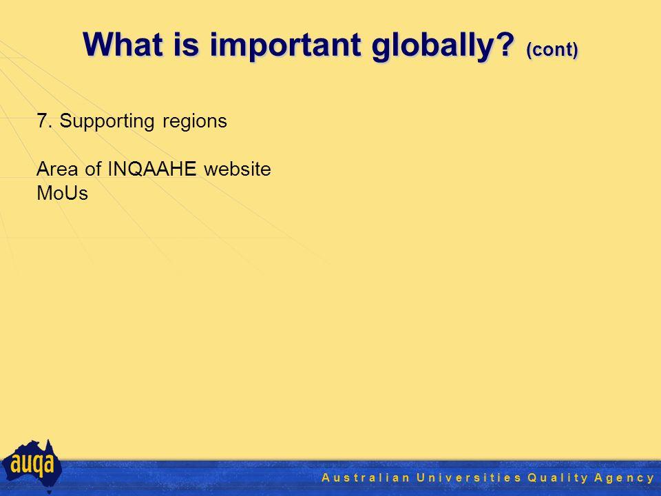 27 A u s t r a l i a n U n i v e r s i t i e s Q u a l i t y A g e n c y What is important globally.