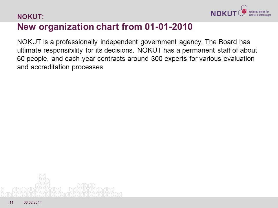 06.02.2014| 11 NOKUT: New organization chart from 01-01-2010 NOKUT is a professionally independent government agency.