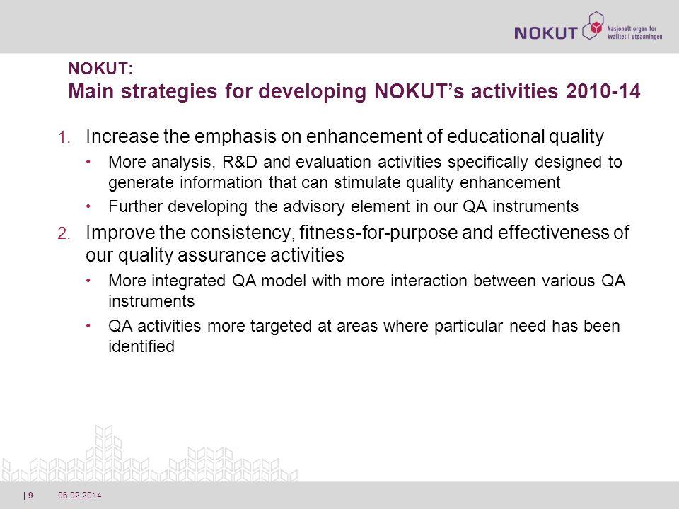 06.02.2014| 10 NOKUT: Main strategies for developing NOKUTs activities 2010-14 1.