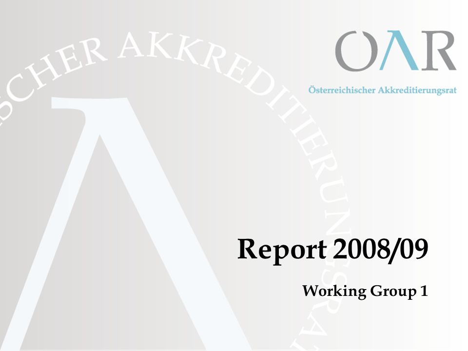 Report 2008/09 Working Group 1