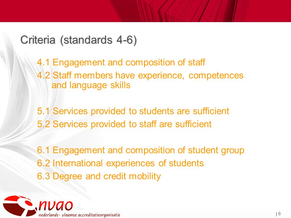 | | 6 Criteria (standards 4-6) 4.1 Engagement and composition of staff 4.2 Staff members have experience, competences and language skills 5.1 Services provided to students are sufficient 5.2 Services provided to staff are sufficient 6.1 Engagement and composition of student group 6.2 International experiences of students 6.3 Degree and credit mobility