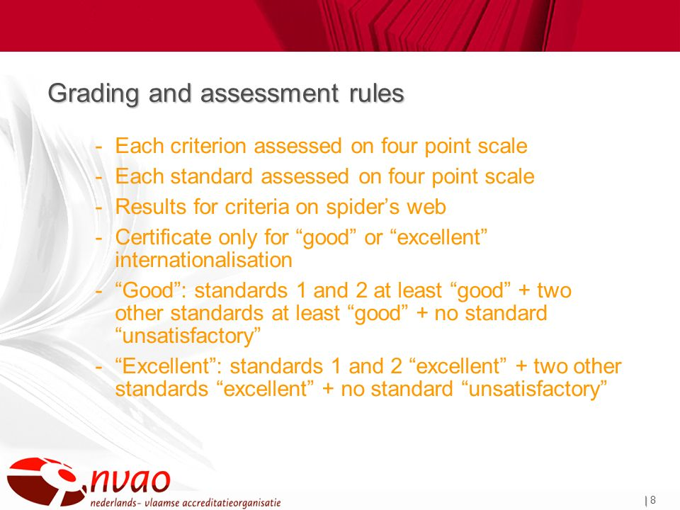 | | 8 Grading and assessment rules -Each criterion assessed on four point scale -Each standard assessed on four point scale -Results for criteria on spiders web -Certificate only for good or excellent internationalisation -Good: standards 1 and 2 at least good + two other standards at least good + no standard unsatisfactory -Excellent: standards 1 and 2 excellent + two other standards excellent + no standard unsatisfactory