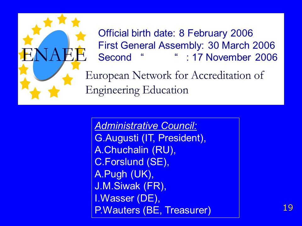 19 Official birth date: 8 February 2006 First General Assembly: 30 March 2006 Second : 17 November 2006 Administrative Council: G.Augusti (IT, Preside